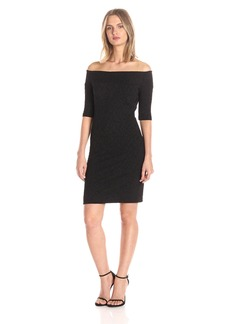 Nicole Miller Women's Knit Lurex Leaves Off Shldr Seamed Dress