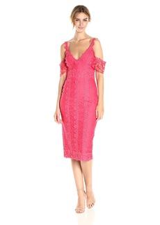Nicole Miller Women's Lace Combos Cold Shoulder Dress Snapdragon/SPD