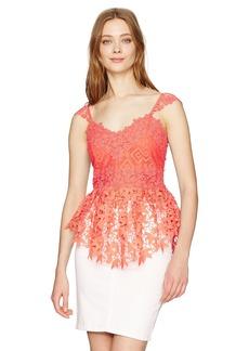 Nicole Miller Women's Lace Combos Peplum Top  S