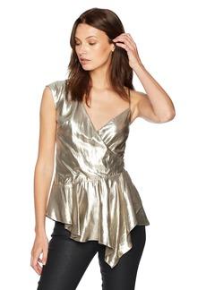 Nicole Miller Women's Lame Asymetrical Tank Top Gold/go L