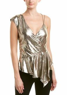 Nicole Miller Women's Lame Asymetrical Tank Top Gold/go S