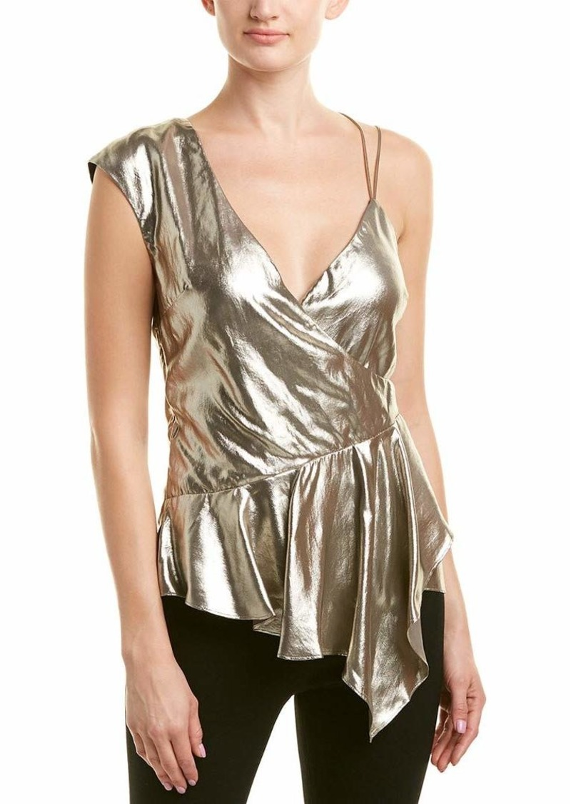 Nicole Miller Women's Lame Asymetrical Tank Top Gold/go S