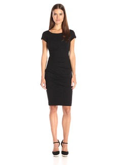 Nicole Miller Women's Lauren Scoop Ponte Dress Black L