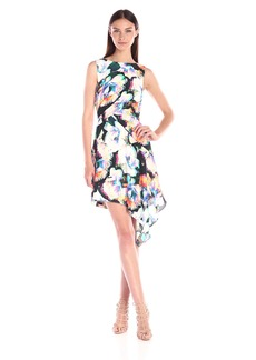 Nicole Miller Women's Layered Flowers Crepe Asymmetric Dress