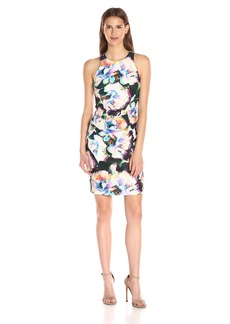 Nicole Miller Women's Layered Flowers Stretch Linen Ruched Dress