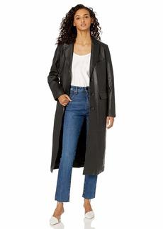Nicole Miller Women's Leather Reefer Coat  S