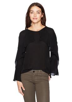Nicole Miller Women's Lera Long Sleeve Ruffle Silk Top Black S