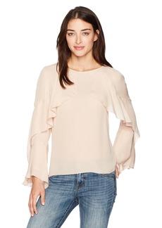 Nicole Miller Women's Lera Long Sleeve Ruffle Silk Top Powder Blush (pbh) M