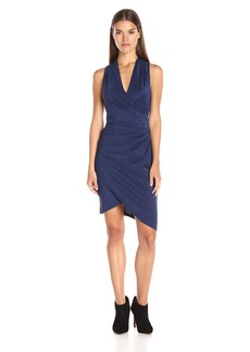 Nicole Miller Women's Lurex Basic Knit Asymmetric Hem Dress