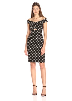 Nicole Miller Women's Lurex Dots Jacquard Off the Shoulder Dress