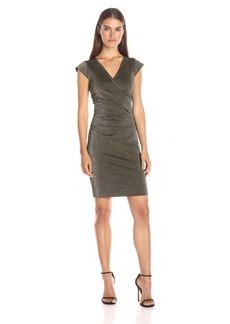 Nicole Miller Women's Lurex Ponte Side Tuck Dress