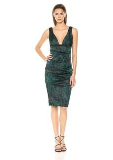 Nicole Miller Women's Lurex Tucked Dress Green Multi (GNM)