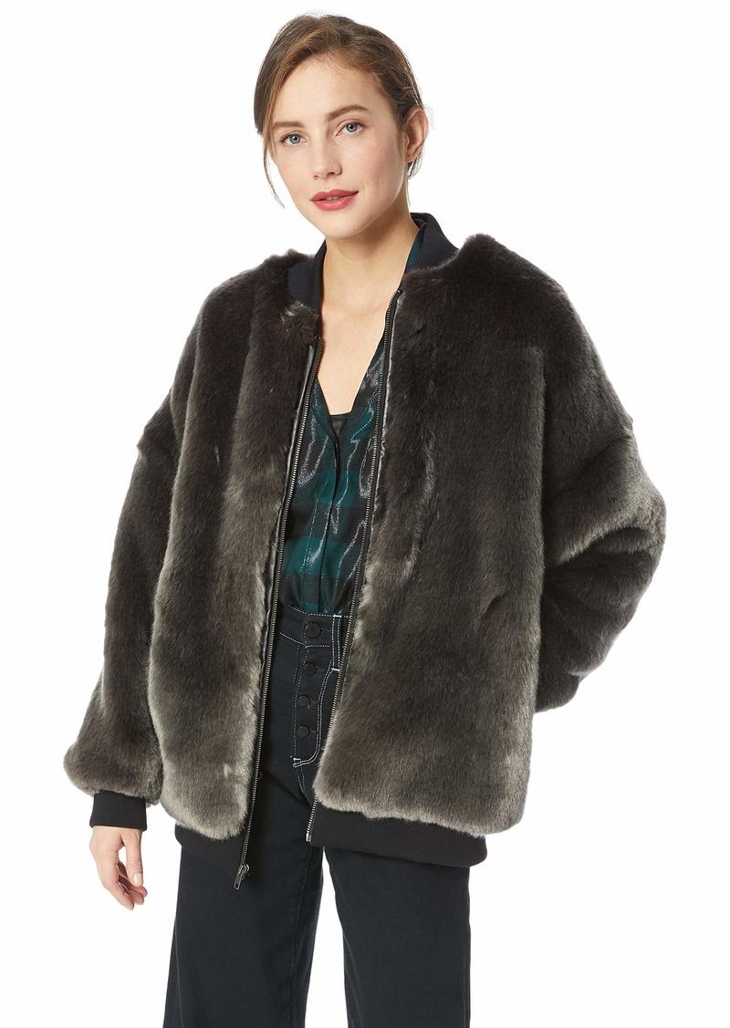 Nicole Miller Women's Luxe Faux Fur Bomber Jacket  S