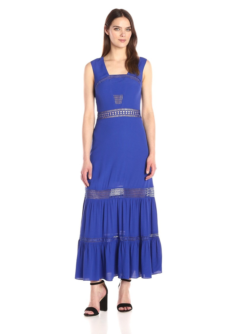 Nicole Miller Women's Malibu Crepe Slvless Trim Dress Royal Blue