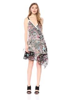 Nicole Miller Women's Mixed Paisleys Stars Asymmetrical Dress  L