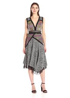 Nicole Miller Women's Mola Maze Combo Aysymmetrical Dress