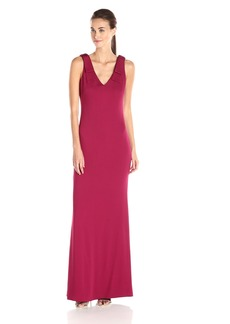 Nicole Miller Women's New Stretch Crepe Bow Shoulder Gown