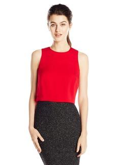 Nicole Miller Women's New Stretch Crepe Poppy Crop Top