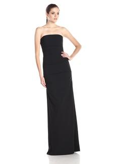 Nicole Miller Women's Felicity Techy Crepe Strapless Gown Dress black