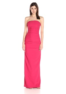 Nicole Miller Women's Nicole Miller's Felicity Techy Crepe Strapless Gown Dress -watermelon