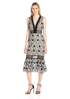 Nicole Miller Women's Nouveau Flowers V Neck Slvless Dress