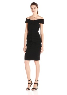 Nicole Miller Women's Off Shoulder Structured Heavy Jersey Dress
