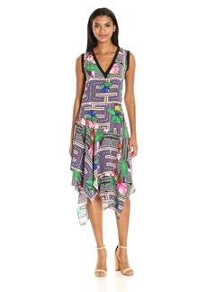Nicole Miller Women's Panama Scarf Asymmetrical Dress