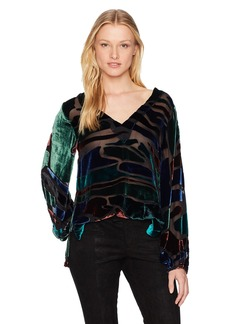 Nicole Miller Women's Penelope Colorblock Velvet Top  S