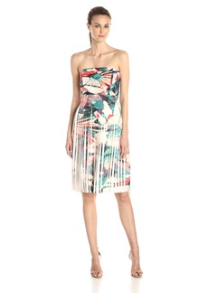 Nicole Miller Women's Pleated Flora Tropica Dress
