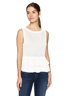 Nicole Miller Women's Pointelle Ruffle Sleeveless Top  S