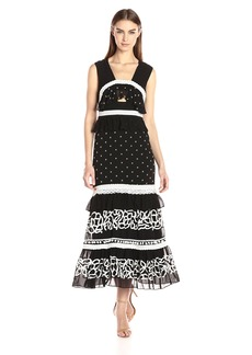 Nicole Miller Women's Pollera Embroidery Mid Length Dress