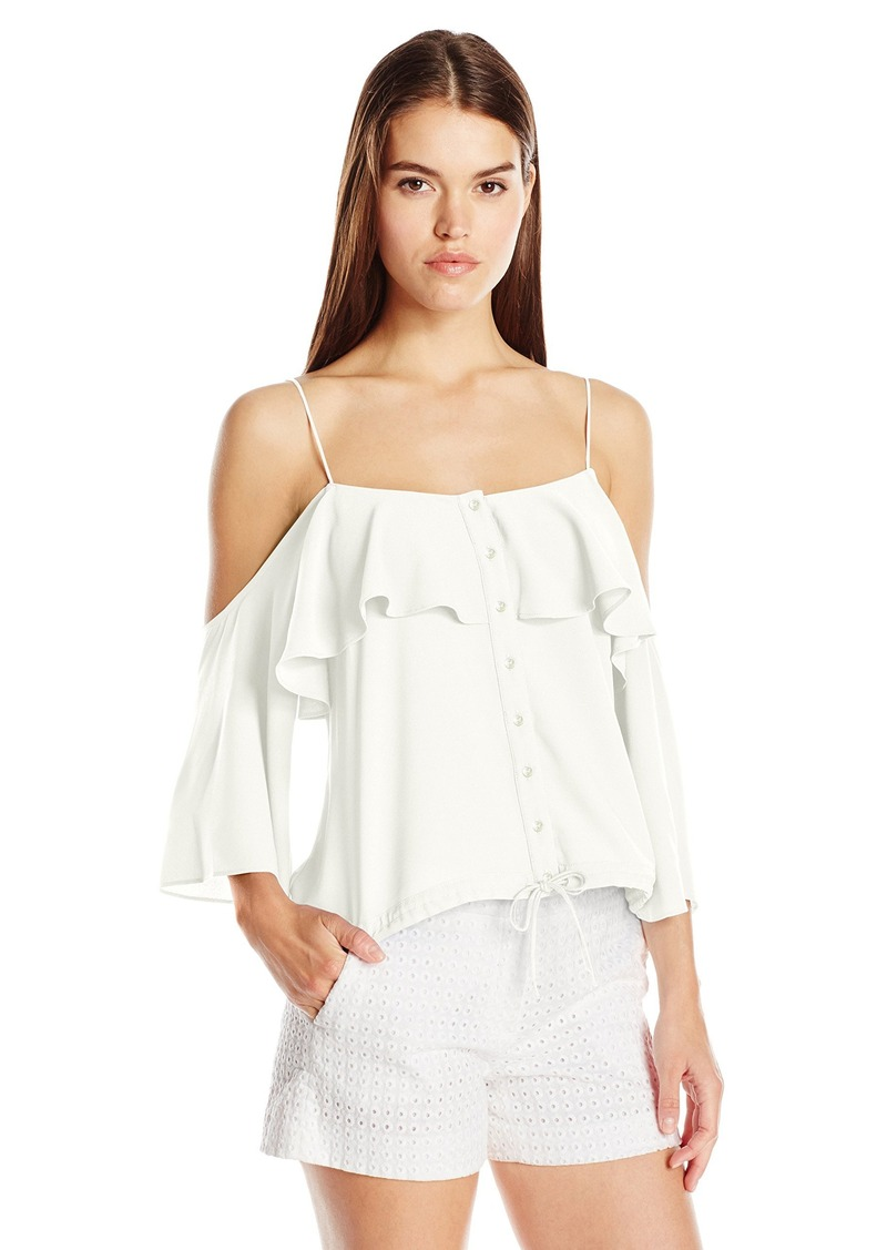 Nicole Miller Women's Poly Crepe Off the Shoulder Blouse with Buttons