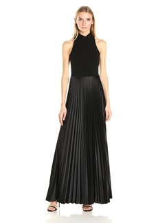 Nicole Miller Women's Poly Satin Mock Neck Pleated Gown Black
