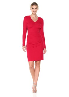 Nicole Miller Women's Ponte Asymm Ruffle Dress Lipstick RED (LRE) S