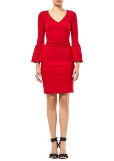 Nicole Miller Women's Ponte Bell SLV Dress Lipstick red S