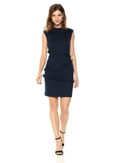 Nicole Miller Women's Ponte Sleeveless Ruffle Dress  S