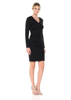 Nicole Miller Women's Ponte V-Neck Tuck Dress  L