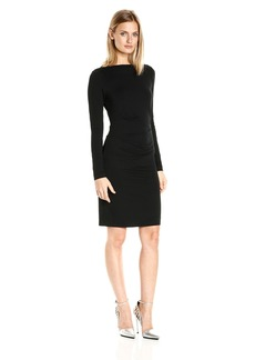 Nicole Miller Women's Quinn Solid Jersey Long Sleeve Tuck Dress