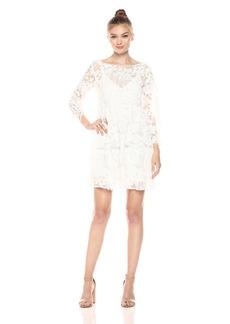 Nicole Miller Women's Raining Flower Empire Dress White/White L
