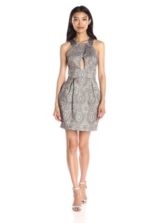 Nicole Miller Women's Richesse Jacquard Halter Dress with Cutout Detail