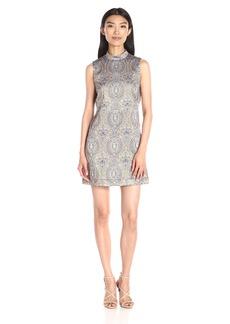Nicole Miller Women's Richesse Jacquard Sleeveless Mini Dress