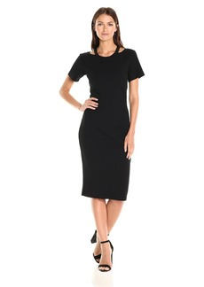 Nicole Miller Women's Riley Ribbed Knit Cut Out Dress  L