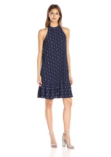 Nicole Miller Women's Royal Ditzy Poly Crepe Mock Neck Dress