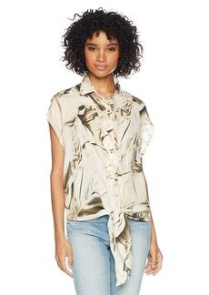 Nicole Miller Women's Safari Jacket Tie Blouse  M