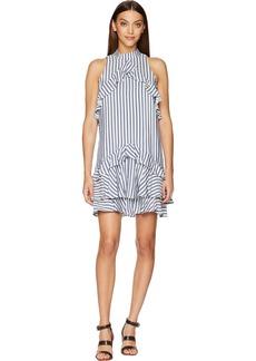 Nicole Miller Women's Sailor Stripe Ruffle Dress  S