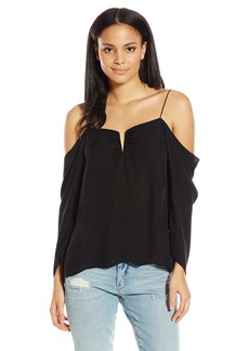 Nicole Miller Women's Schuler Silk GGT Cold Shoulder Blouse Black