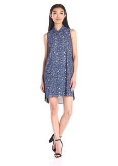 Nicole Miller Women's Scribble Flowers Shirt Dress