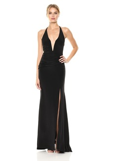 Nicole Miller Women's Side Drape Plunge Gown Black