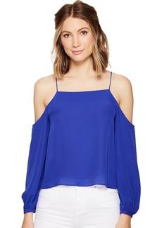Nicole Miller Women's Silk GGT Cold Shoulder Spag Top  L