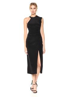 Nicole Miller Women's Silk Ruched Dress W/High Slit Black